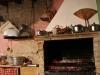 il camino della cucina in attività